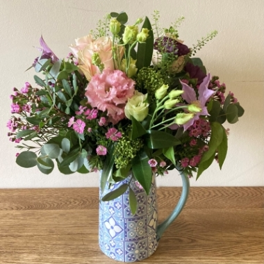 Seasonal Flowers in a Ceramic Jug